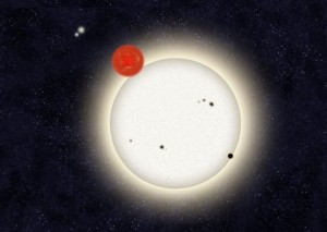 An artist's impression of PH1, the exoplanet in a quadruple-star system.