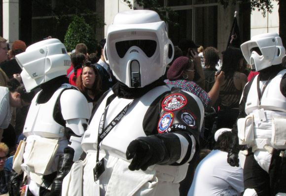 A Storm Trooper possibly asking people to sign the Death Star petition.