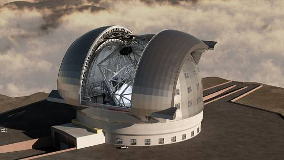 An architectural concept drawing of the European-Extremely Large Telescope. With a 39.9m primary mirror, it is the largest of the planned new generation extremely large telescopes. Image: Swinburne Astronomy Productions/ESO via WikiMedia.