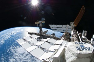 "The Alpha Magnetic Spectrometer onboard the International Space Station. Image: NASA""."