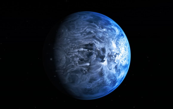 An illustration of HD 189733b, a deep blue coloured exoplanet 63 light-years from Earth. Image: NASA, ESA, M. Kornmesser